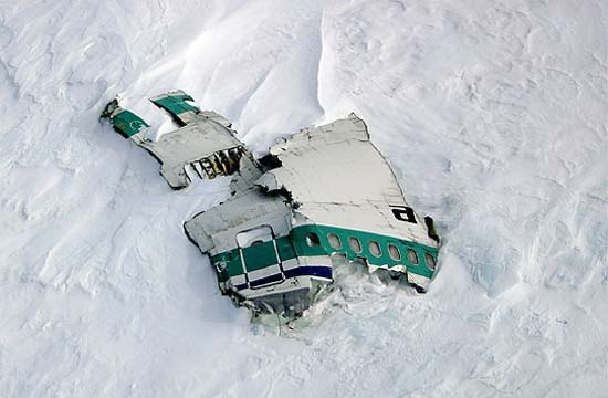 A piece of the fuselage from the Air New Zealand DC-10 on Mount Erebus